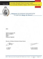 Urkunde Belgischer Champion Sabayuma Bandari Jalia