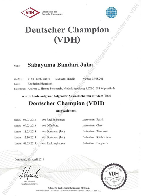 Deutscher Champion Jalia