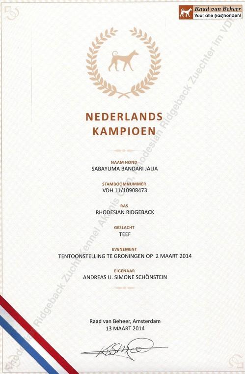Niederländischer Champion Jalia