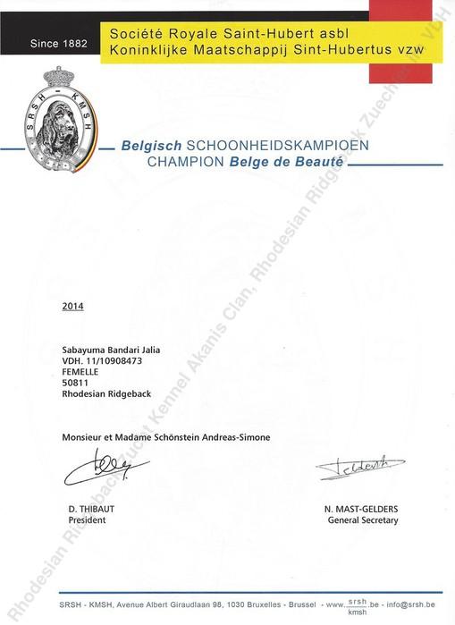 Champion Urkunde Jalia Belgien