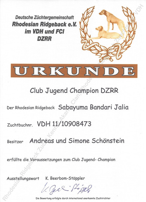 Club Jugend Champion DZRR