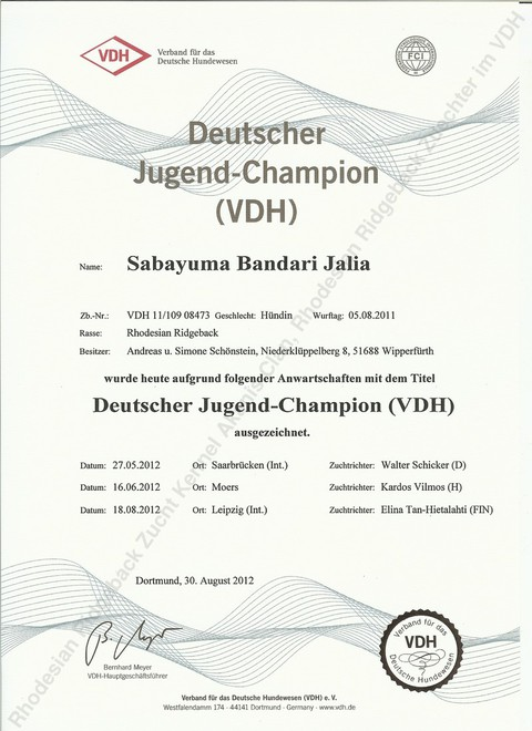 Jalia Deutscher Jugendchampion VDH