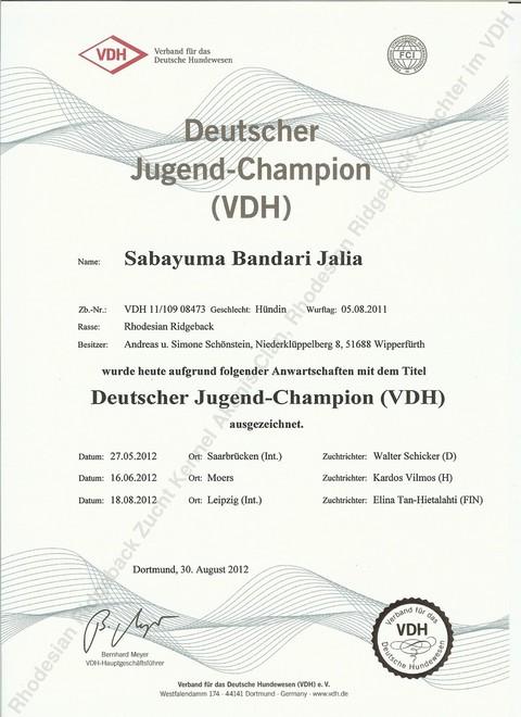 Jalia Deutscher Jugendchampion VDH