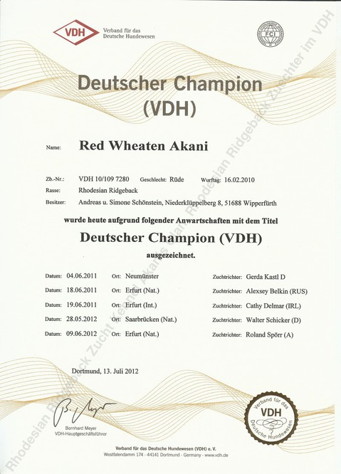 Urkunde Deutscher Champion VDH von Red Wheaten Akani
