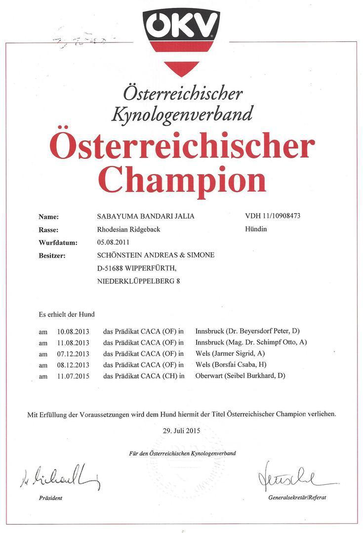 Österreichischer Champion Rhodesian Ridgeback Jalia