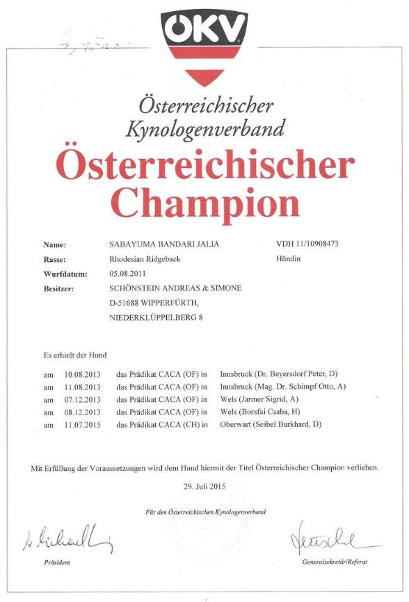 Rhodesian Ridgeback Jalia wird Champion beim ÖKV Österreich