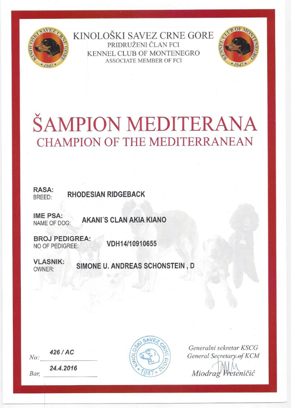 Rhodesian Ridgeback Kiano Mediterran Champion