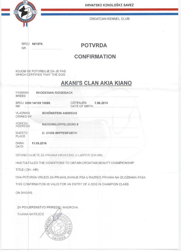 Ch. Akani´s Clan Akia Kiano Champion Kroatien