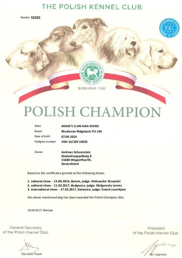 Champion Urkunde Rhodesian Ridgeback Rüde Akani´s Clan Akia Kiano