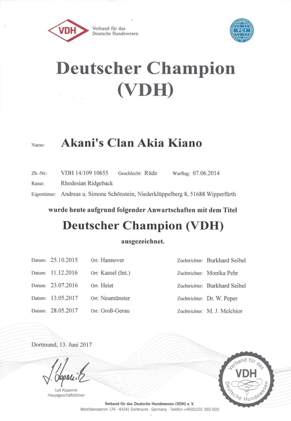 Akanis Clan Akia Kiano Deutscher Champion VDH
