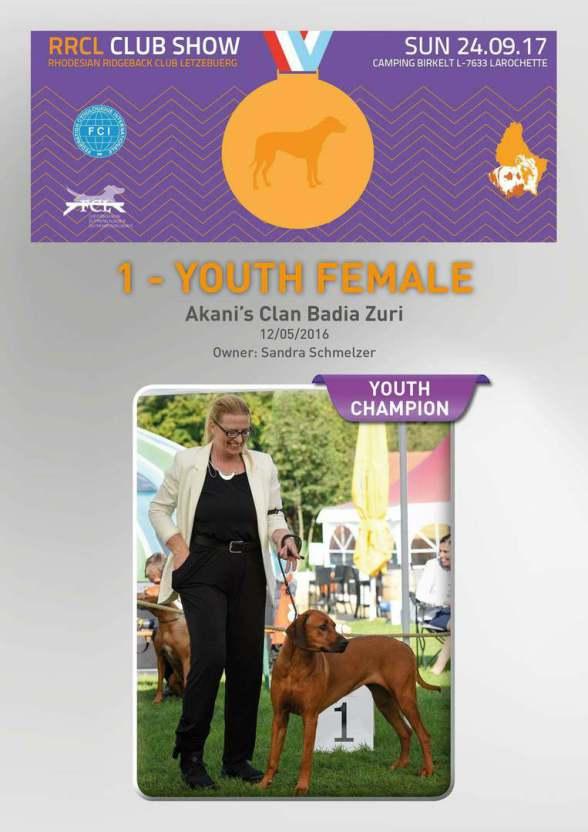 Akanis Clan Badia Zuri Jugend-Champion Luxemburg