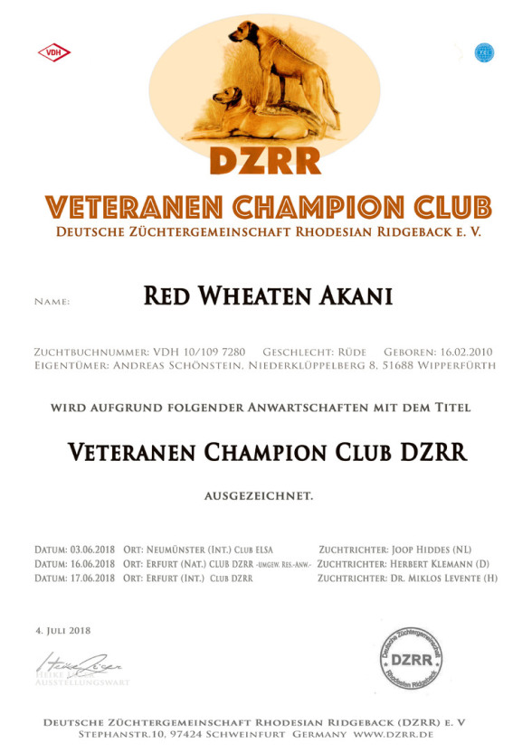 Akani DZRR Club Veteranen Champion