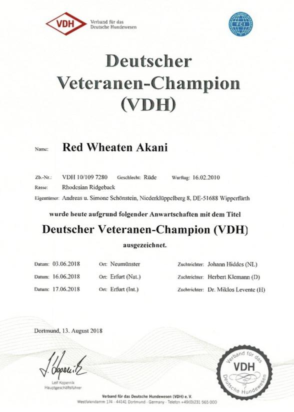 Red Wheaten Akani Rhodesian Ridgeback Veteranen Champion